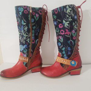 Socofy Women's Boots Leather Calf High Boho Retro Western Floral Boots Size 8